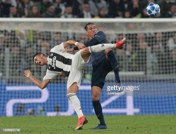 Cristiano Ronaldo of Juventus competes for the ball with Chris Smalling of Manchester United during the Group H match of the UEFA Champions League...