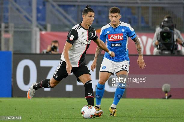 Cristiano Ronaldo of Juventus competes for the ball with Giovanni Di Lorenzo of SSC Napoli during the Coppa Italia Final match between Juventus and...