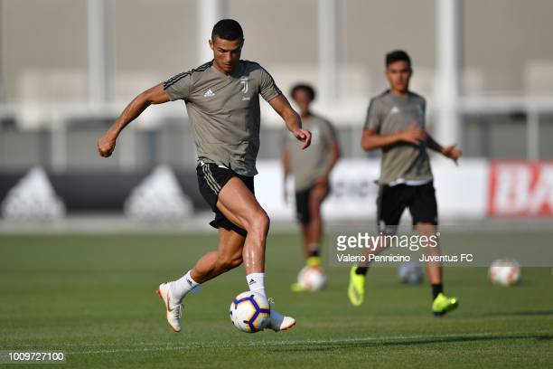 Cristiano Ronaldo of Juventus controls the ball during a Juventus training session on August 2 2018 in Turin Italy