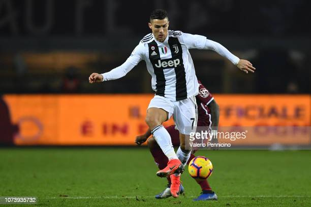 Cristiano Ronaldo of Juventus controls the ball during the Serie A match between Torino FC and Juventus at Stadio Olimpico di Torino on December 15...