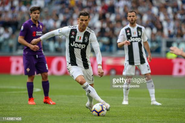 Cristiano Ronaldo of Juventus controls the ball during the Serie A match between Juventus and ACF Fiorentina on April 20 2019 in Turin Italy