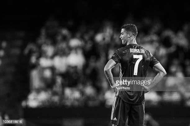 the image has been converted to black and white Cristiano Ronaldo of Juventus cries after taking a red card during the UEFA Champions League group H...
