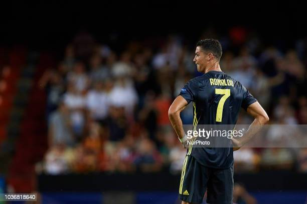 Cristiano Ronaldo of Juventus cries after taking a red card during the UEFA Champions League group H match between Valencia CF and Juventus at...