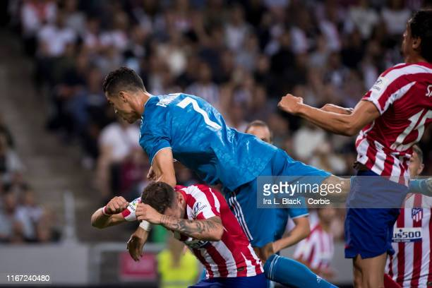Cristiano Ronaldo of Juventus dives for the headerl during the international Champions Cup Friendly match between Atletico de Madrid and Juventus FC...