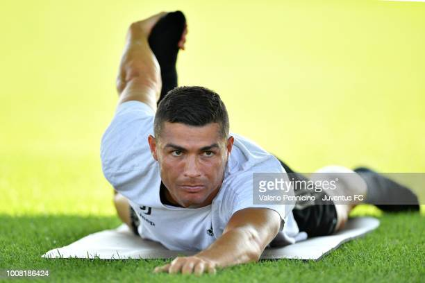Cristiano Ronaldo of Juventus during a Juventus training session on July 31 2018 in Turin Italy