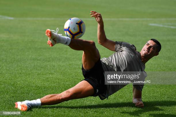 Cristiano Ronaldo of Juventus during a Juventus training session on on August 1 2018 in Turin Italy