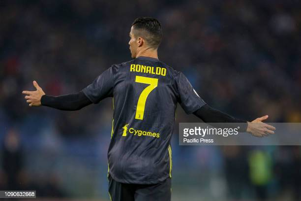 Cristiano Ronaldo of Juventus during the Serie A match between SS Lazio and Juventus at Stadio Olimpico in Rome Italy Juventus won the match 21