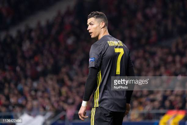 Cristiano Ronaldo of Juventus during UEFA Champions League round of 16 soccer match between Atletico Madrid and Juventus at Wanda Metropolitano...