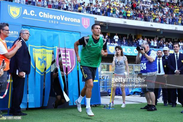 Cristiano Ronaldo of Juventus emerges from the tunnel to warm up ahead of the Serie A match between Chievo Verona and Juventus at Stadio Marc'Antonio...