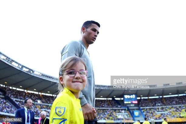 Cristiano Ronaldo of Juventus enters the field ahead of the Serie A match between Chievo Verona and Juventus at Stadio Marc'Antonio Bentegodi on...