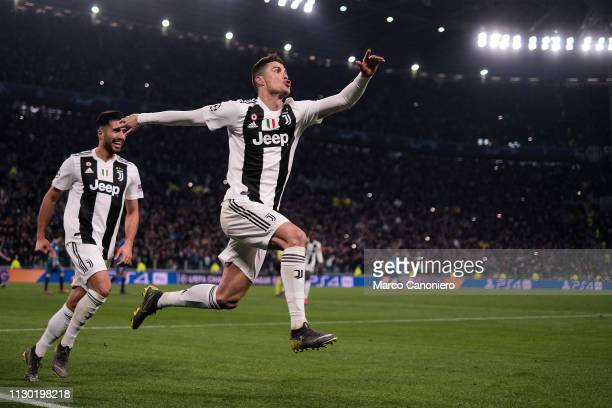 Cristiano Ronaldo of Juventus FC celebrate after scoring a goal during the UEFA Champions League Round of 16 Second Leg match between Juventus Fc and...