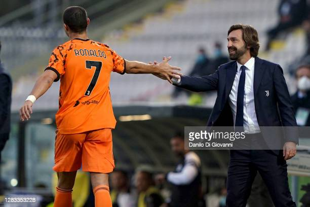 Cristiano Ronaldo of Juventus FC celebrate after scoring a goal with Andrea Pirlo head coach of Juventus FC during the Serie A match between Spezia...