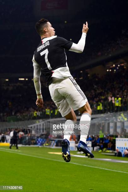 Cristiano Ronaldo of Juventus FC celebrates after scoring a goal that was later disallowed during the Serie A football match between FC...