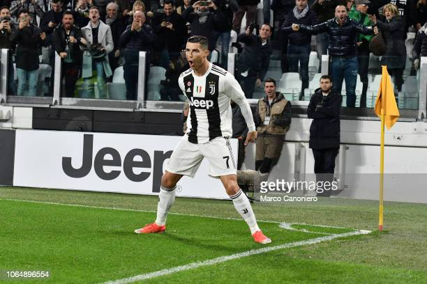 Cristiano Ronaldo of Juventus FC celebrates after scoring a goal during the Serie A football match between Juventus Fc and Spal Juventus FC wins 20...