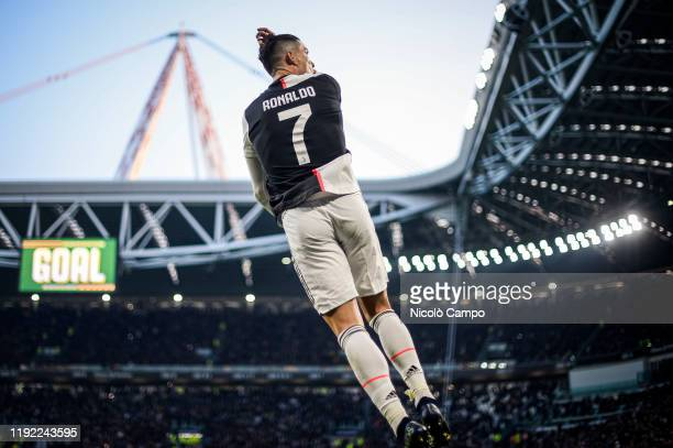 Cristiano Ronaldo of Juventus FC celebrates after scoring a goal during the Serie A football match between Juventus FC and Cagliari Calcio Juventus...