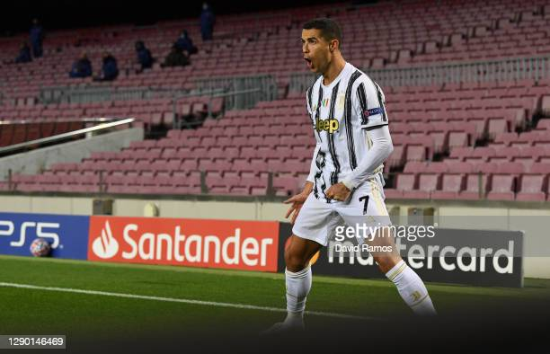 Cristiano Ronaldo of Juventus F.C. Celebrates after scoring his sides first goal from the penalty spot during the UEFA Champions League Group G stage...