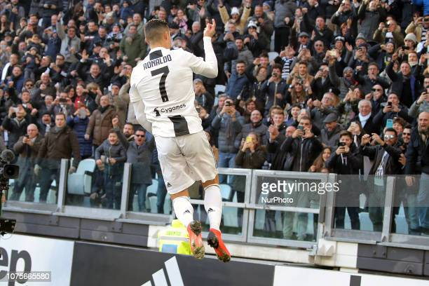 Cristiano Ronaldo of Juventus FC celebrates after scoring the his goal during the serie A match between Juventus FC and UC Sampdoria at Allianz...