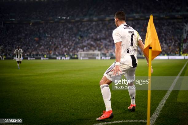 Cristiano Ronaldo of Juventus FC celebrates after scoring the opening goal during the Serie A football match between Juventus FC and Genoa CFC The...