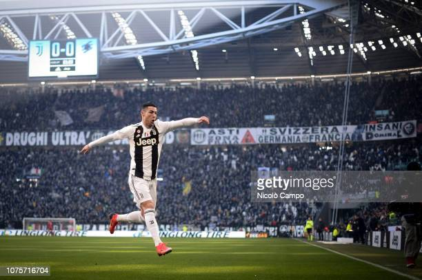 Cristiano Ronaldo of Juventus FC celebrates after scoring the opening goal during the Serie A football match between Juventus FC and UC Sampdoria...