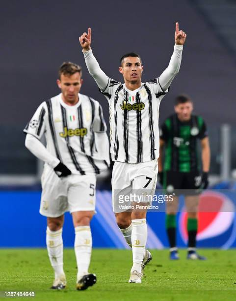 Cristiano Ronaldo of Juventus F.C. Celebrates after scoring their team's first goal during the UEFA Champions League Group G stage match between...