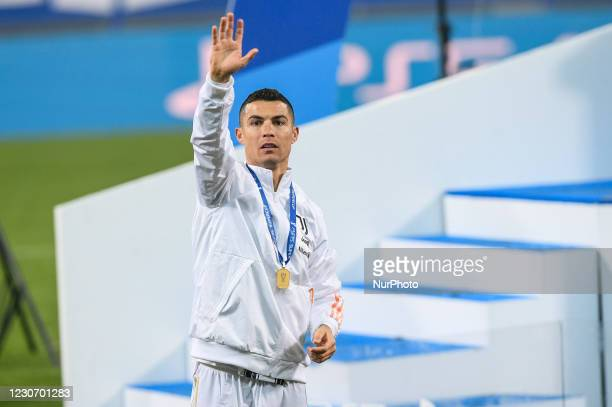 Cristiano Ronaldo of Juventus FC celebrates after winning the Italian Super Cup Final match between FC Juventus and SSC Napoli at the Mapei Stadium -...