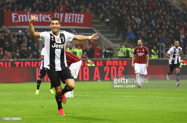 Cristiano Ronaldo of Juventus FC celebrates his goal during the Serie A match between AC Milan and Juventus at Stadio Giuseppe Meazza on November 11...