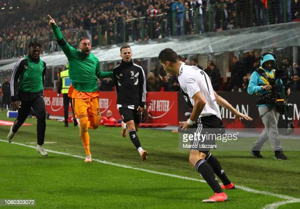 Cristiano Ronaldo of Juventus FC celebrates his goal during the Serie A match between AC Milan and Juventus at Stadio Giuseppe Meazza on November 11,...