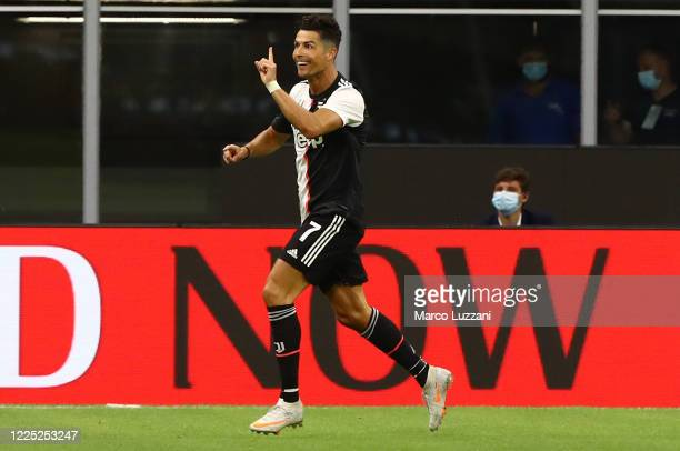 Cristiano Ronaldo of Juventus FC celebrates his goal during the Serie A match between AC Milan and Juventus at Stadio Giuseppe Meazza on July 7, 2020...