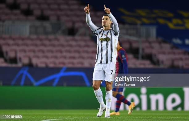 Cristiano Ronaldo of Juventus F.C. Celebrates scoring their sides third goal during the UEFA Champions League Group G stage match between FC...
