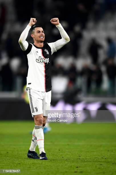 Cristiano Ronaldo of Juventus FC celebrates the victory at the end of the Serie A football match between Juventus FC and Parma Calcio. Juventus FC...