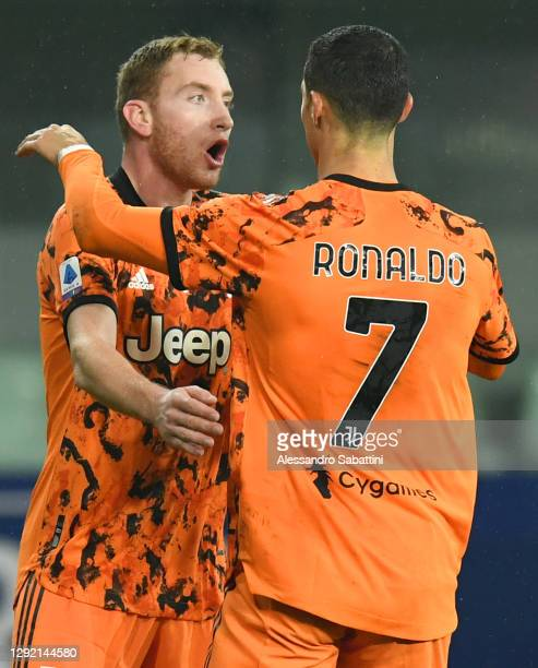 Cristiano Ronaldo of Juventus F.C. Celebrates with Dejan Kulusevski after scoring their team's second goal during the Serie A match between Parma...