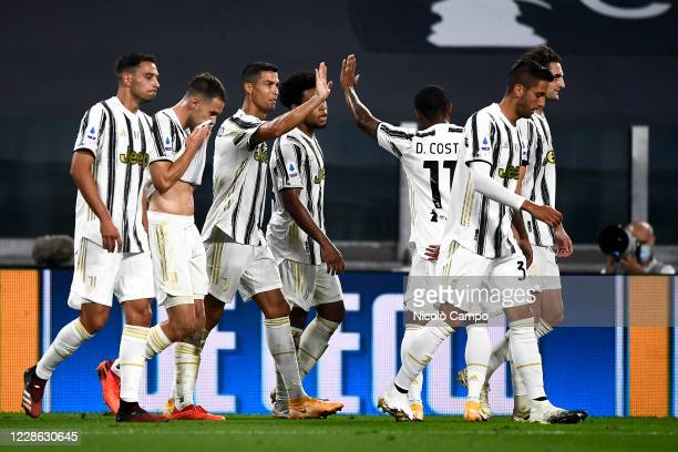 Cristiano Ronaldo of Juventus FC celebrates with his teammates after scoring a goal during the Serie A football match between Juventus FC and UC...