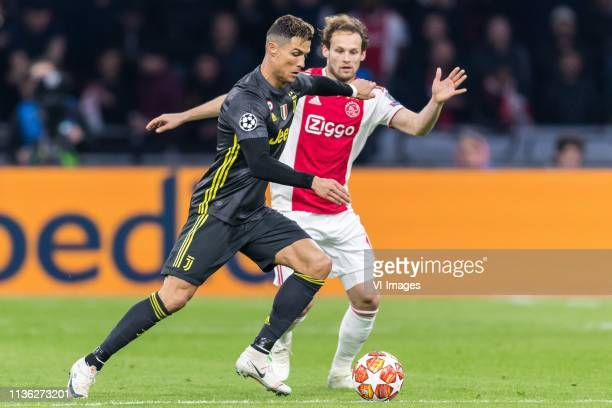 Cristiano Ronaldo of Juventus FC Daley Blind of Ajax during the UEFA Champions League quarter final match Ajax Amsterdam and Juventus FC at the Johan...