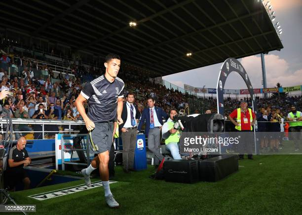 Cristiano Ronaldo of Juventus FC during the warm up prior to the serie A match between Parma Calcio and Juventus at Stadio Ennio Tardini on September...