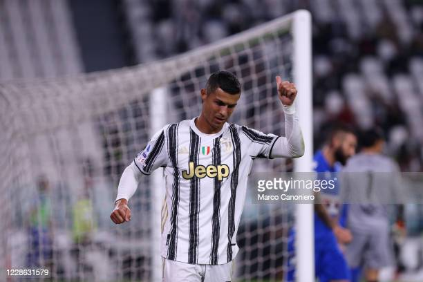 Cristiano Ronaldo of Juventus FC gestures during the Serie A match between Juventus Fc and Uc Sampdoria Juventus Fc wins 30 over Uc Sampdoria