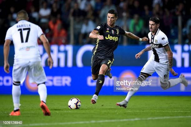 Cristiano Ronaldo of Juventus FC in action during the Serie A football match between Parma Calcio and Juventus FC Juventus FC won 21 over Parma Calcio