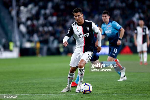 Cristiano Ronaldo of Juventus FC in action during the Serie A football match between Juventus Fc and Atalanta Bergamasca Calcio. The match end in a...