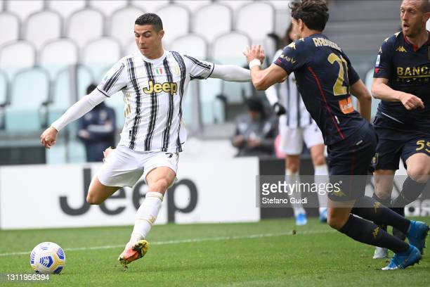 Cristiano Ronaldo of Juventus FC in action during the Serie A match between Juventus and Genoa CFC at Allianz Stadium on April 11, 2021 in Turin,...