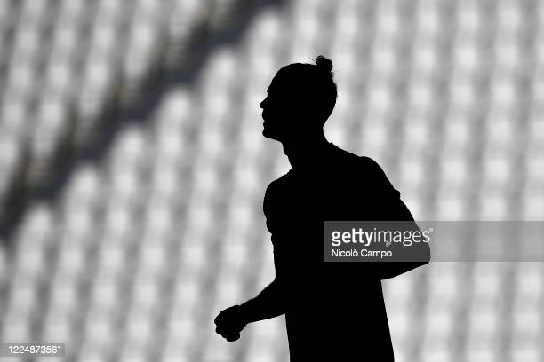 Cristiano Ronaldo of Juventus FC is seen during warm up prior to the Serie A football match between Juventus FC and Torino FC. Juventus FC won 4-1...