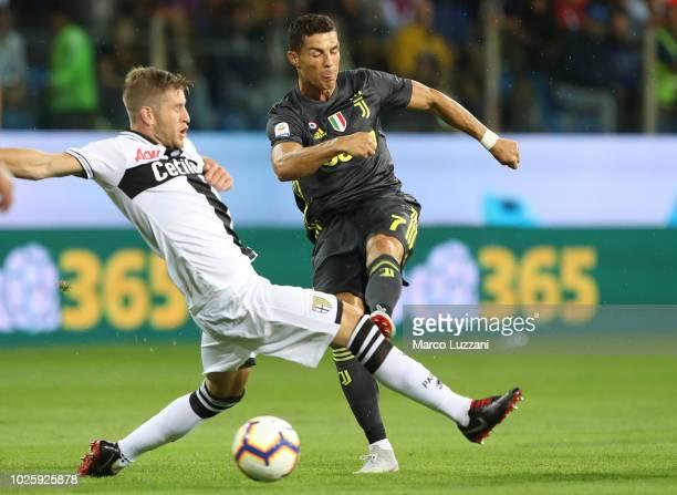 Cristiano Ronaldo of Juventus FC kicks a ball during the serie A match between Parma Calcio and Juventus at Stadio Ennio Tardini on September 1 2018...