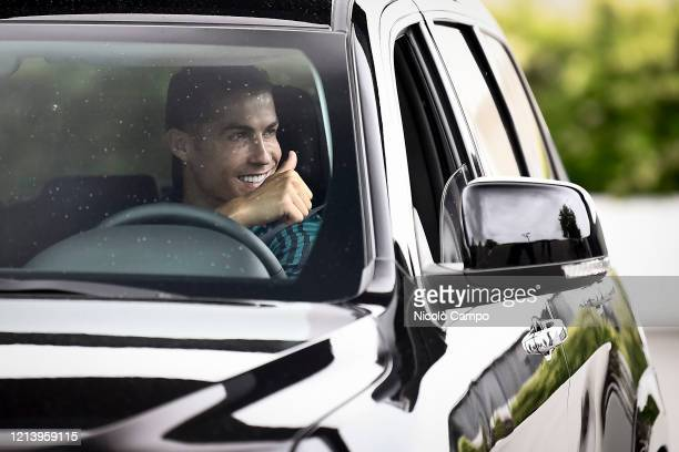 Cristiano Ronaldo of Juventus FC leaves by Jeep car the Continassa training ground after his first training session after quarantine Serie A plans to...