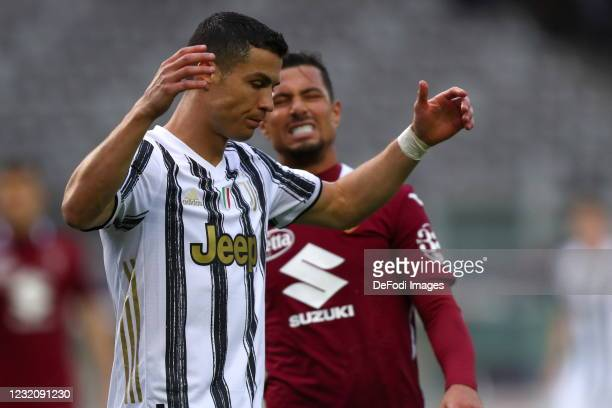 Cristiano Ronaldo of Juventus FC looks dejected during the Serie A match between Torino FC and Juventus at Stadio Olimpico di Torino on April 3, 2021...