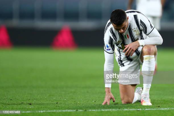 Cristiano Ronaldo of Juventus Fc looks dejected during the Serie A match between Juventus Fc and Parma Calcio. Juventus Fc wins 3-1 over Parma Calcio.