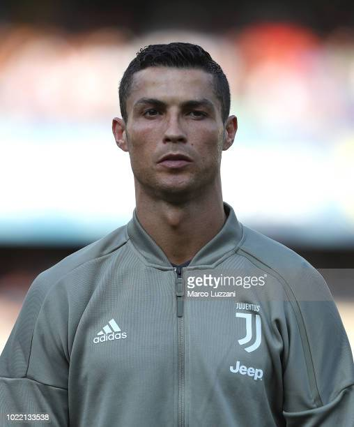 Cristiano Ronaldo of Juventus FC looks on before the Serie A match between Chievo Verona and Juventus at Stadio Marc'Antonio Bentegodi on August 18...