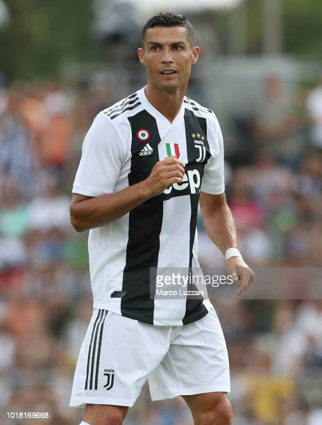 Cristiano Ronaldo of Juventus FC looks on during the PreSeason Friendly match between Juventus and Juventus U19 on August 12 2018 in Villar Perosa...