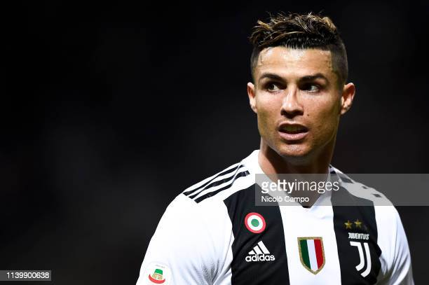 Cristiano Ronaldo of Juventus FC looks on during the Serie A football match between FC Internazionale and Juventus FC. The match ended in a 1-1 tie.
