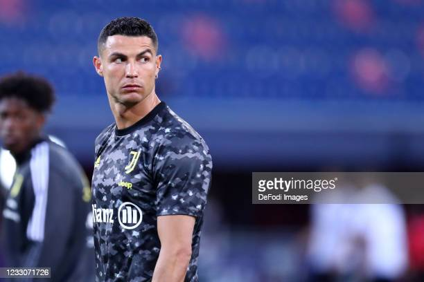 Cristiano Ronaldo of Juventus Fc looks on during the Serie A match between Bologna FC and Juventus at Stadio Renato Dall'Ara on May 23, 2021 in...