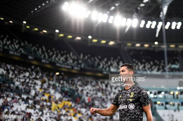 Cristiano Ronaldo of Juventus FC looks on during warmup prior to the friendly football match between Juventus FC and Atalanta BC. Juventus FC won 3-1...