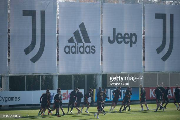 Cristiano Ronaldo of Juventus FC Paulo Dybala of Juventus FC during training session ahead of the UEFA Champions League Group G stage match between...