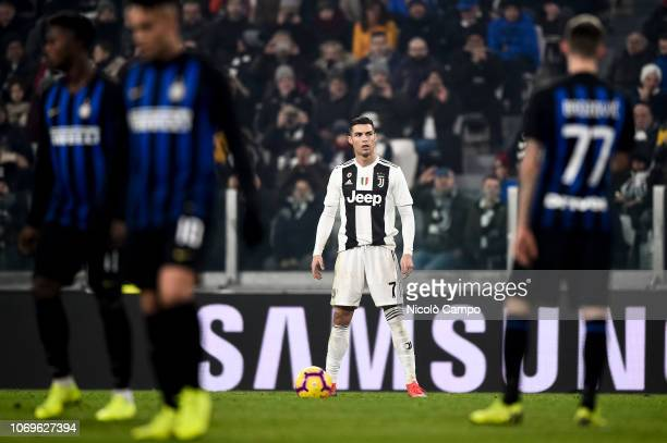 Cristiano Ronaldo of Juventus FC prepares for a free kick during the Serie A football match between Juventus FC and FC Internazionale Juventus FC won...